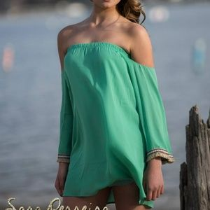 Mint green cold shoulder tunic with trim